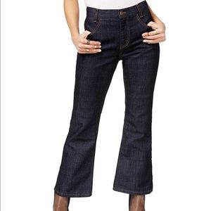 Free people cropped flared raw demin jean size 28
